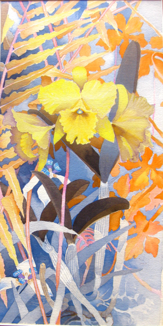 Iris and Yellow Orchi... by  John Thomas (1927-2001) - Masterpiece Online
