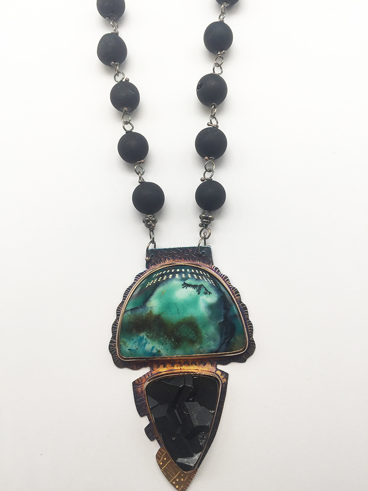 Magnetite, Opal Displaced Petrifyied Wood with Copper Mineral, Sterling and 22K