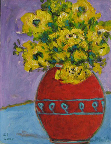 Flowers With Red Vase by  Andres  Morillo - Masterpiece Online