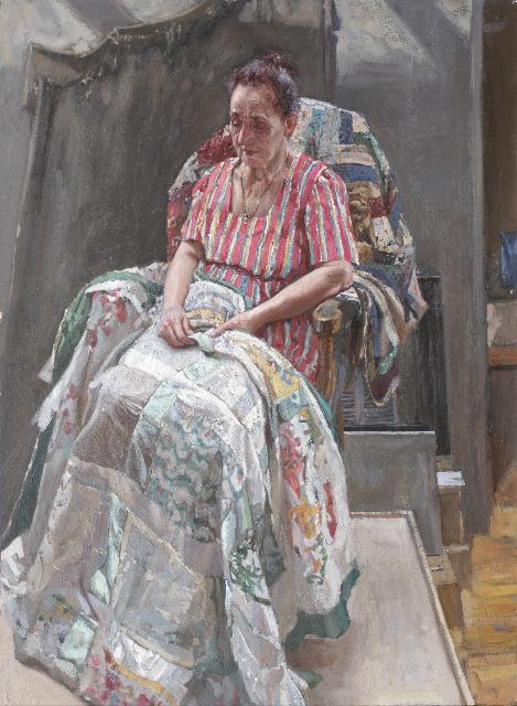 Marietta with Quilt by  Daud Akhriev - Masterpiece Online