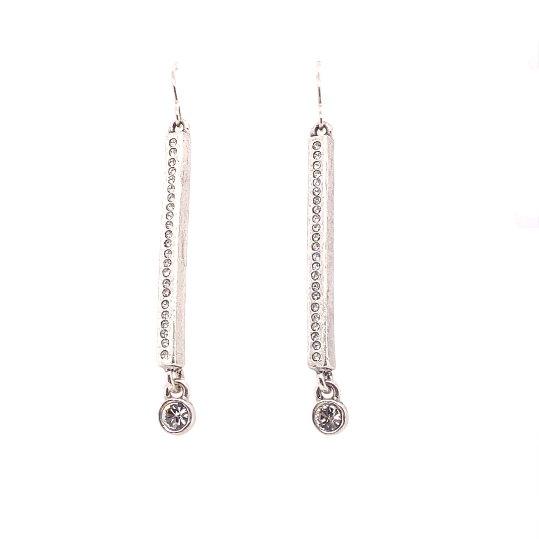 Axis Earrings in Silver, All Crystal