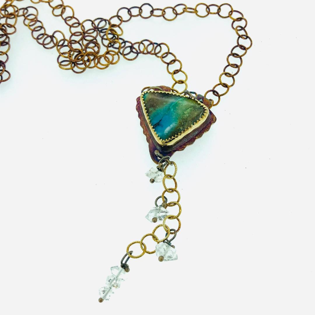 Blue Opal, Petrified Wood and Herkimer Necklace