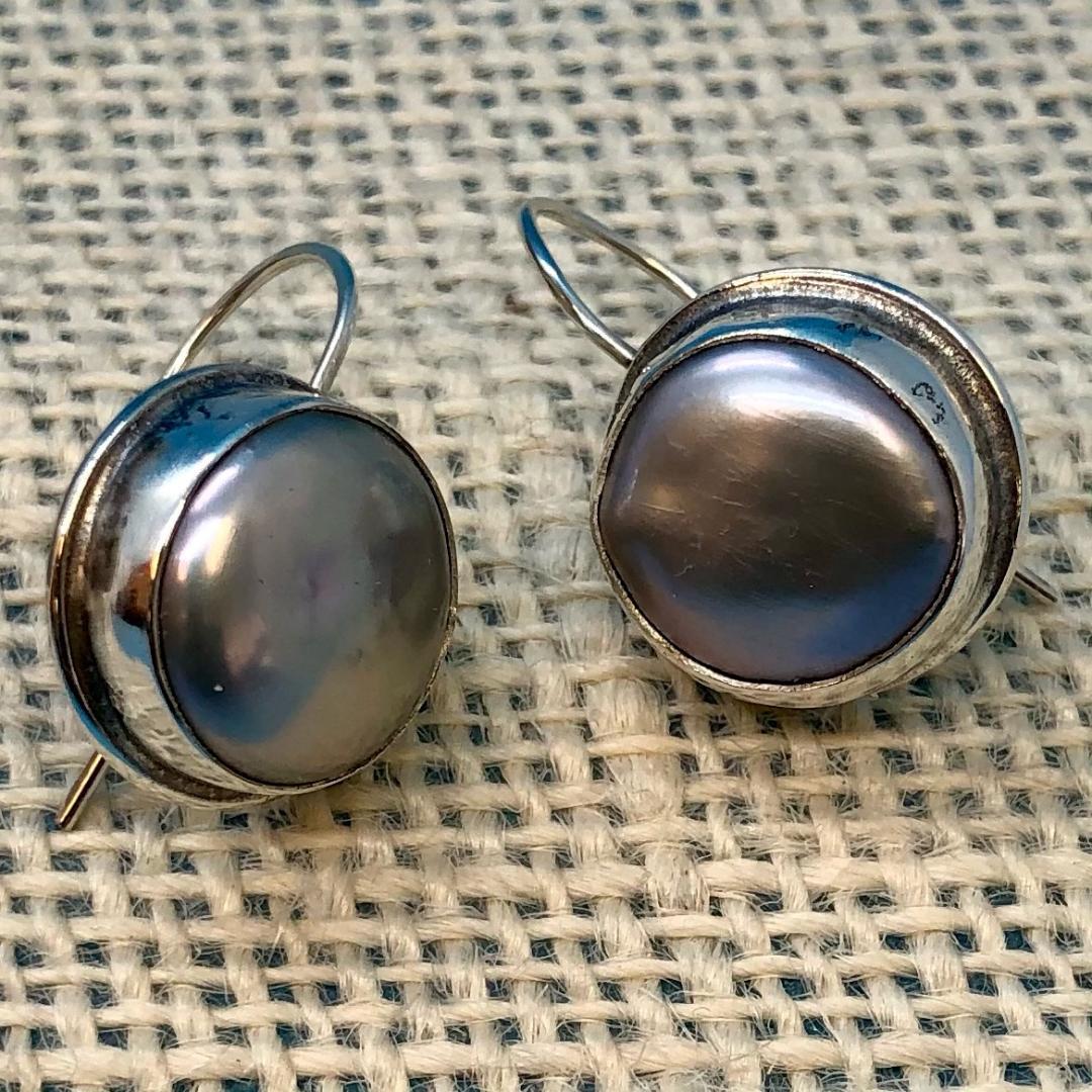 Grey Platinum Coin Pearl Earrings