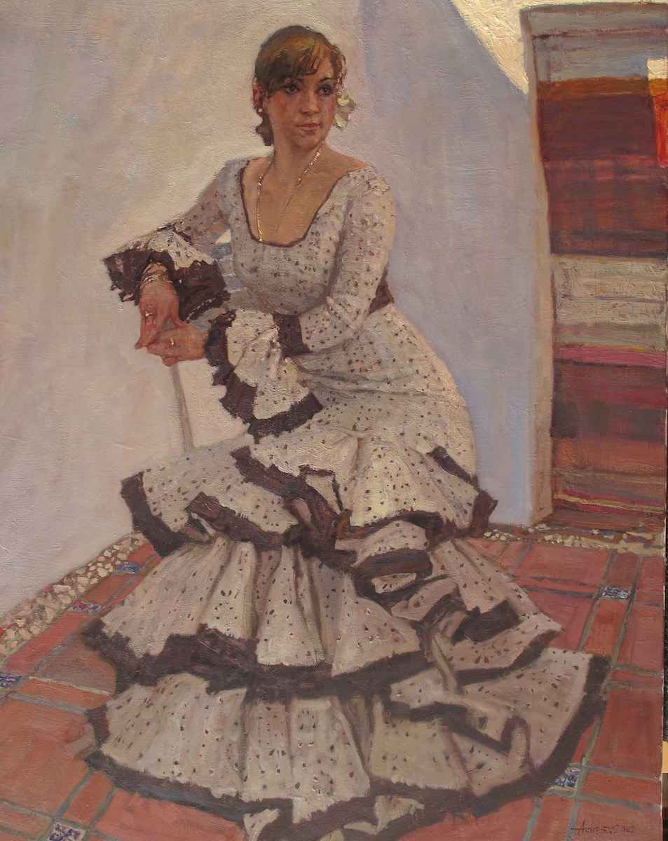 Martha in the Courtya... by  Daud Akhriev - Masterpiece Online