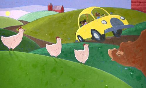 In Car By A Farm  by  Joe Cepeda