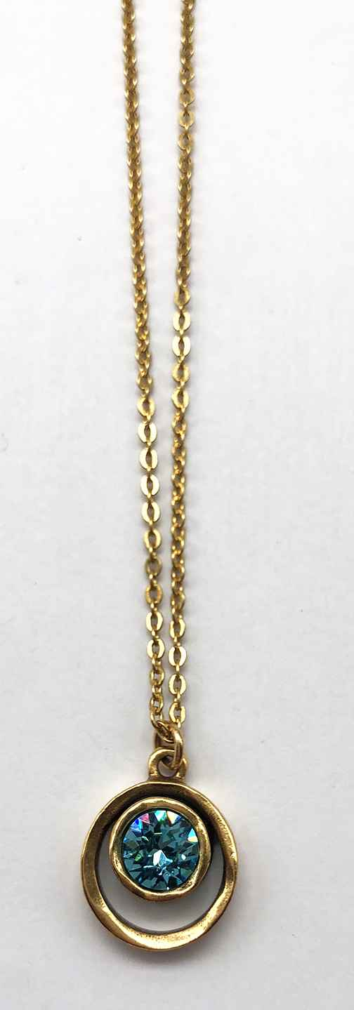 Skeeball Necklace in Gold, Light Turquoise
