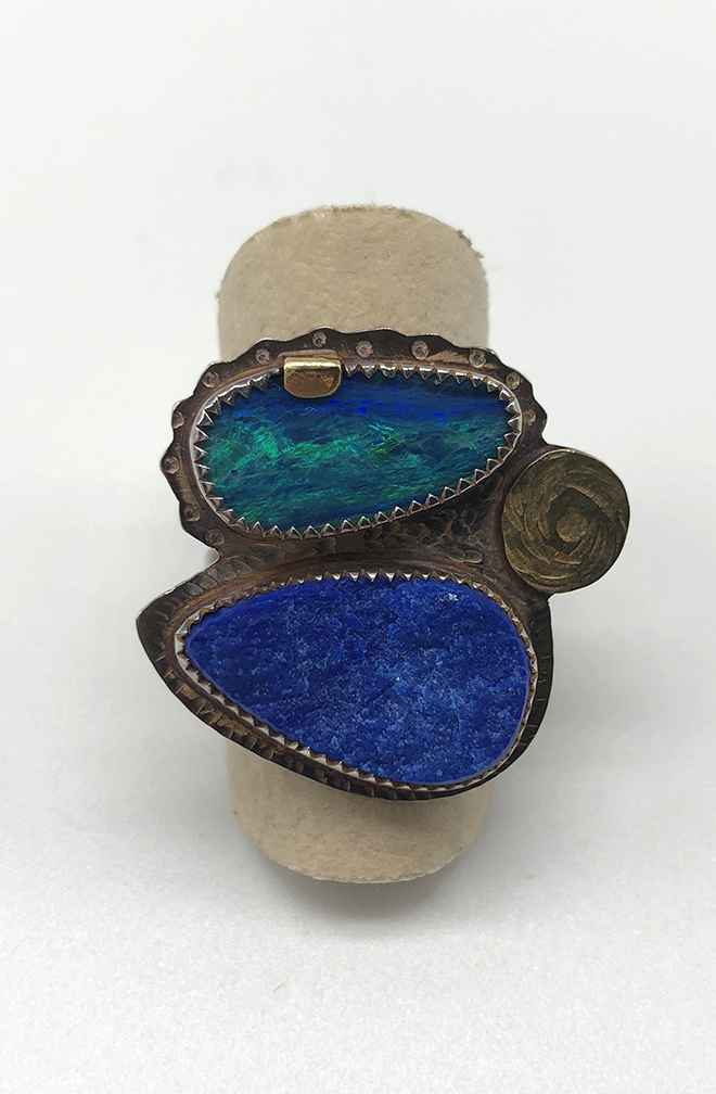 Sterling, 22k Gold, Opal and Lapis Ring Size 7.5