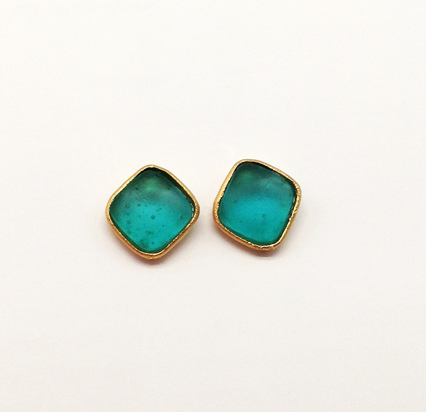 Bubble Diamonds Post Earrings in Teal