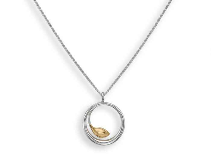 Be-Leaf Pendant Sterling Silver and 14k Gold