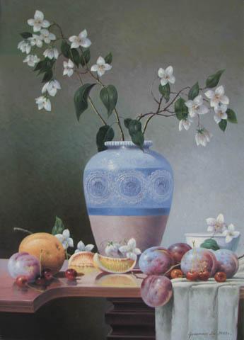 Blossoms and Fruit by  Vasily Gribennikov - Masterpiece Online