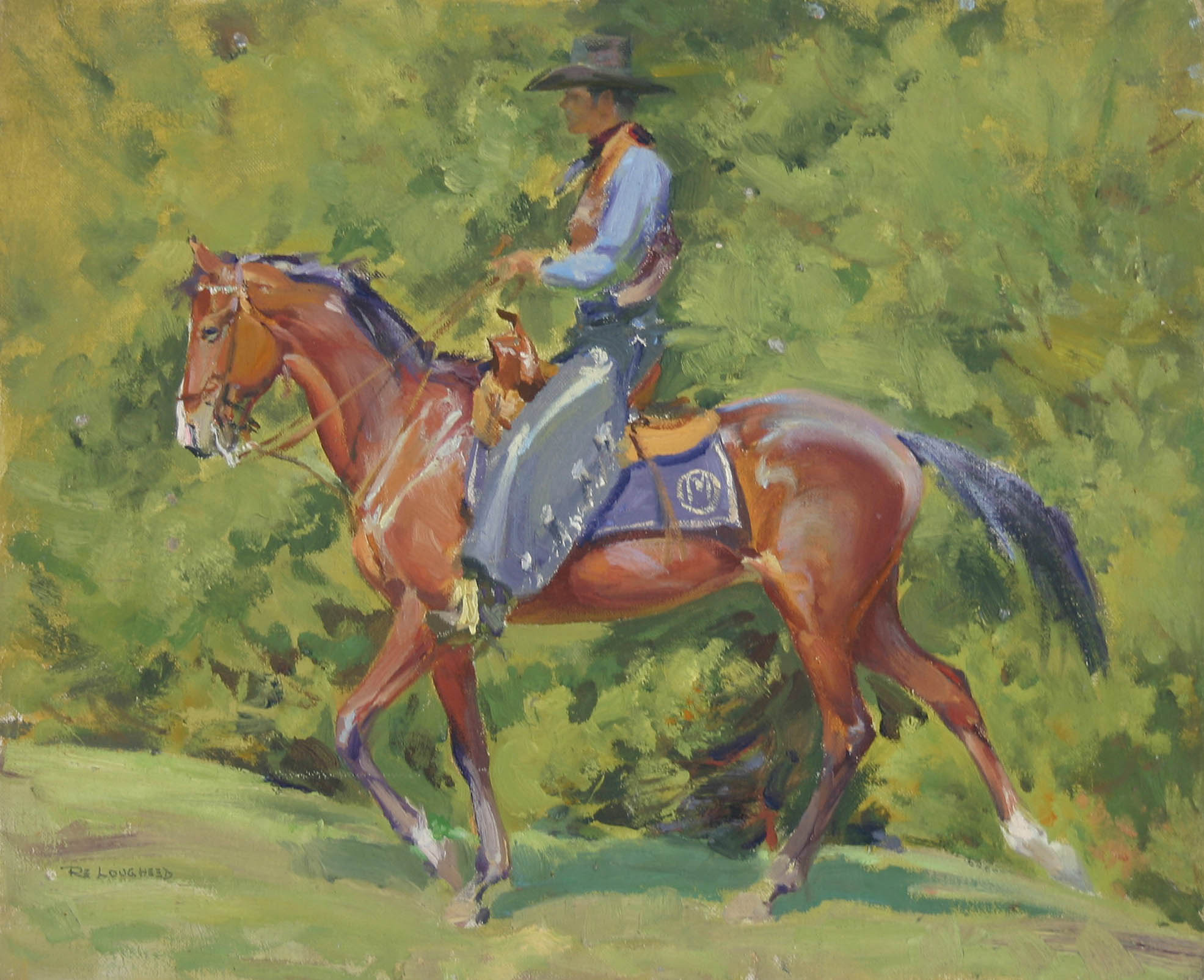 Cowboy on Horse by  Robert Lougheed - Masterpiece Online
