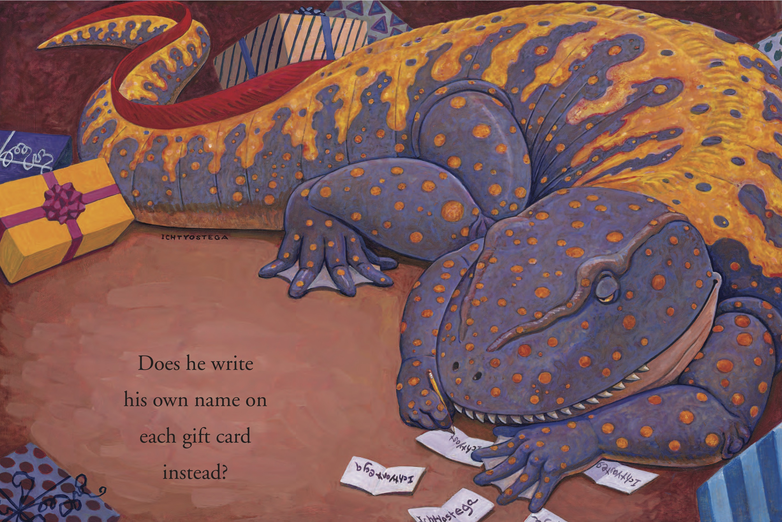 Dino Writing on Gift ...  by  Mark Teague