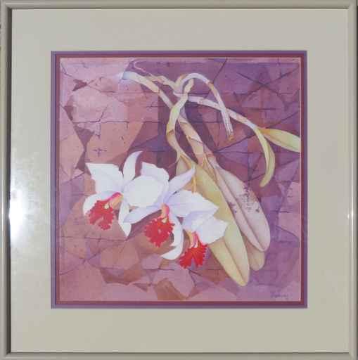 White Cattleya Among ... by  John Thomas (1927-2001) - Masterpiece Online