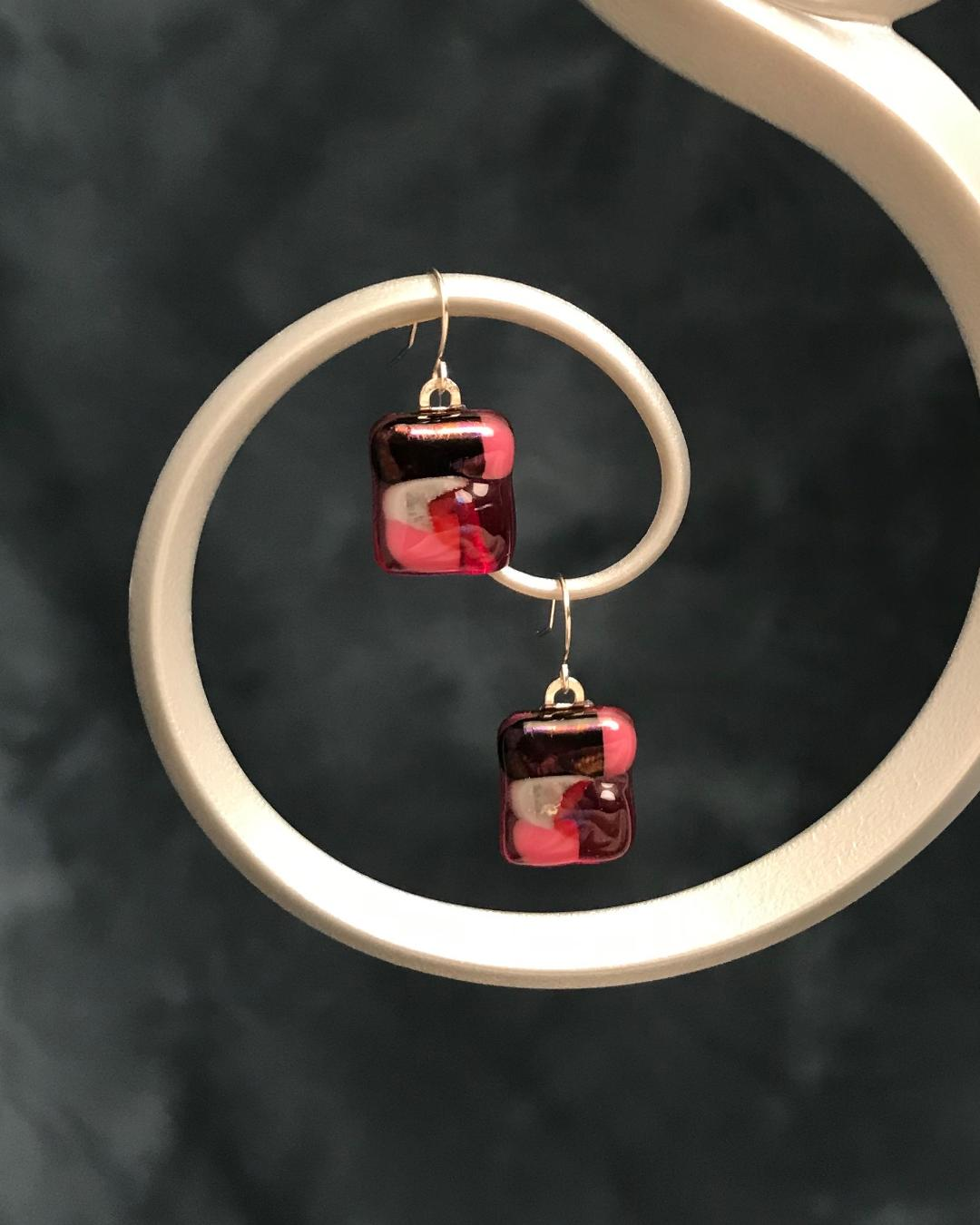 Fused Glass Magenta Earrings with Silver Plated Wires