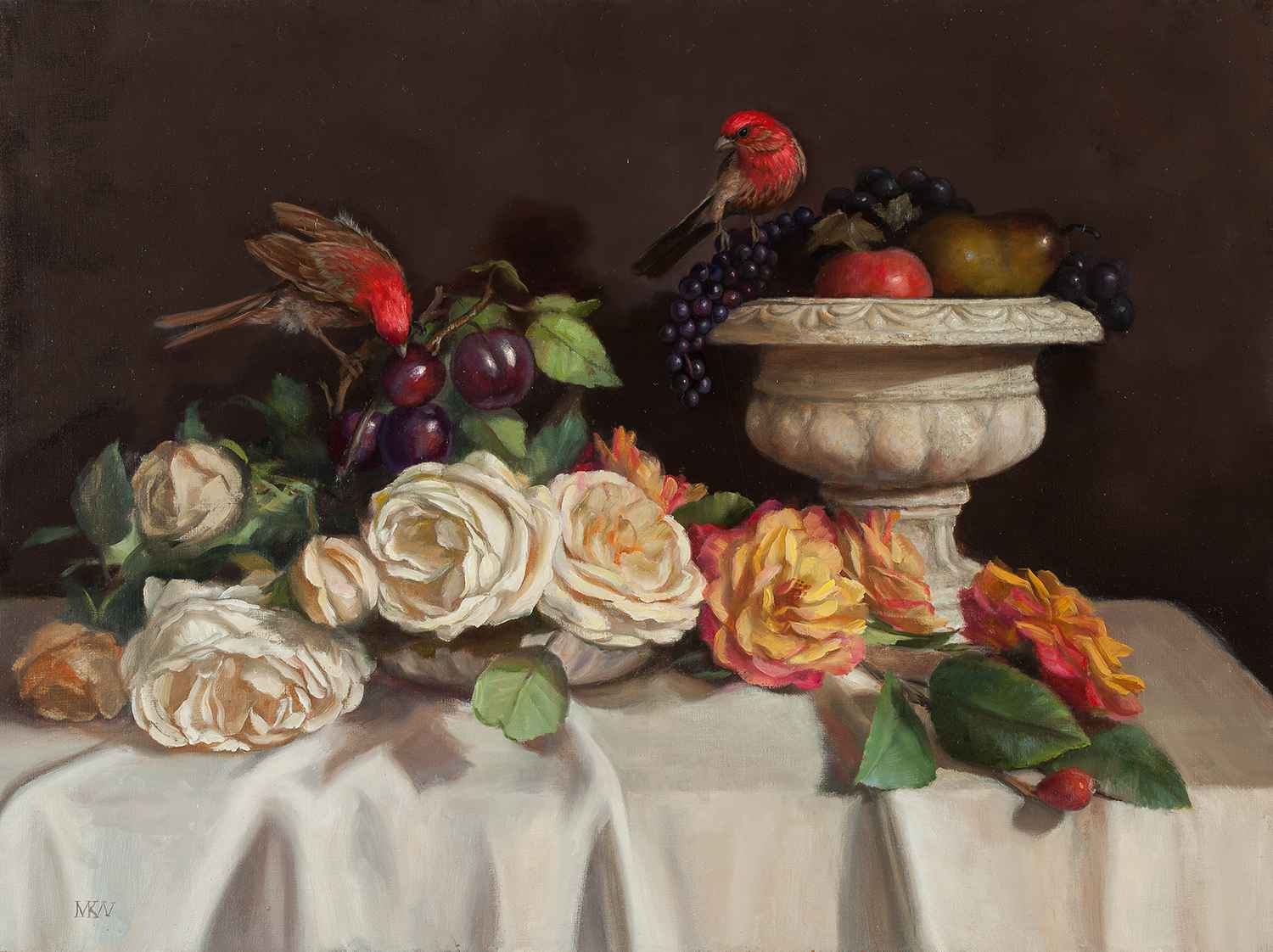 Roses and House Finch... by  Mary Kay  West  - Masterpiece Online