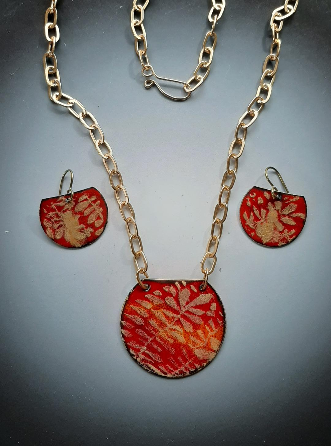 Gold Branches on Red Set Necklace and Earring Set (screen print)