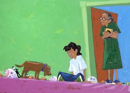Girl With Dog And Mas...  by  Joe Cepeda