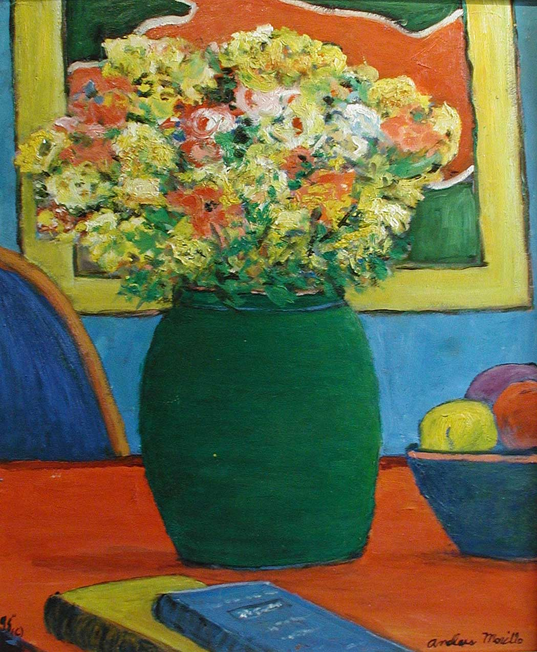Red Table with Green ... by  Andres  Morillo - Masterpiece Online