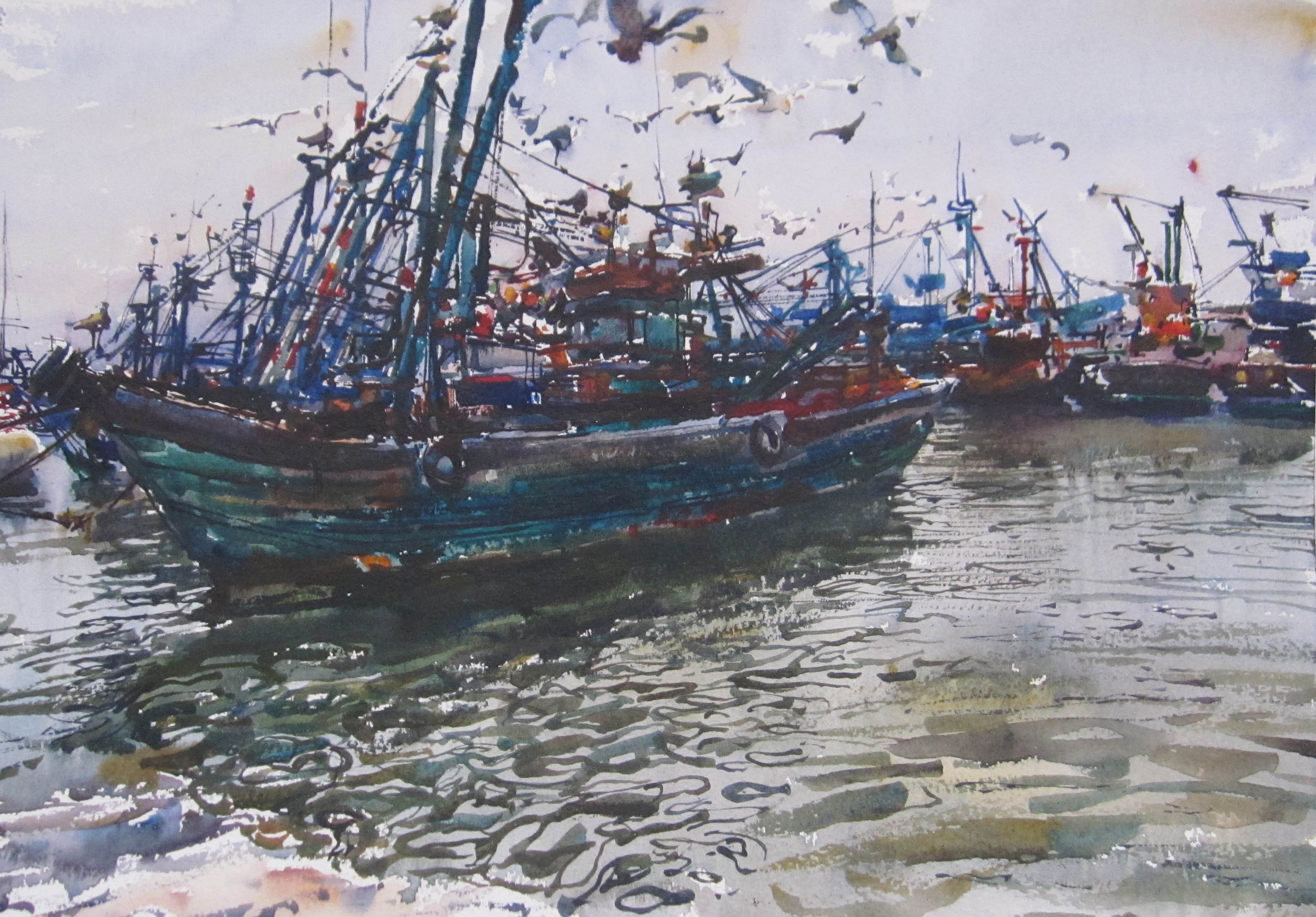 Turquoise Boat by  Daud Akhriev - Masterpiece Online