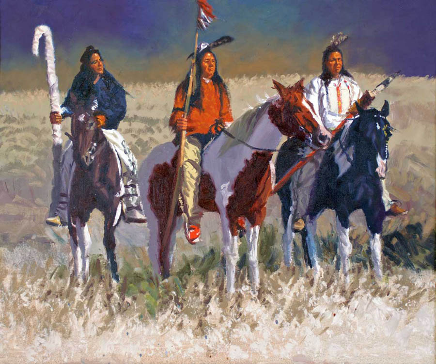 SOLD- Three Lakota by  Glen Edwards - Masterpiece Online