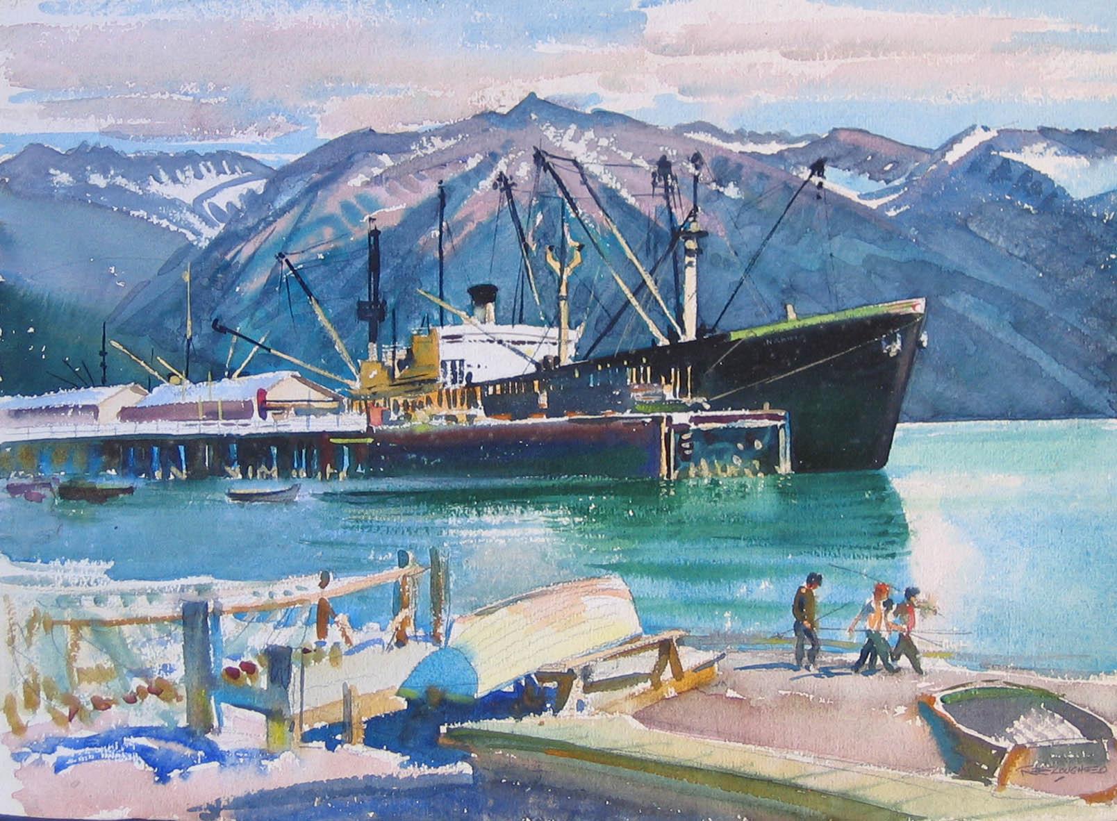 Boat Harbour - Alaska by  Robert Lougheed - Masterpiece Online