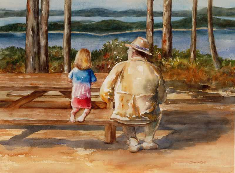 Buddies  by Mrs Denise Cole - Watercolors