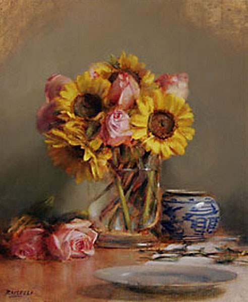 Sunflower & Roses by  Ellen Buselli - Masterpiece Online