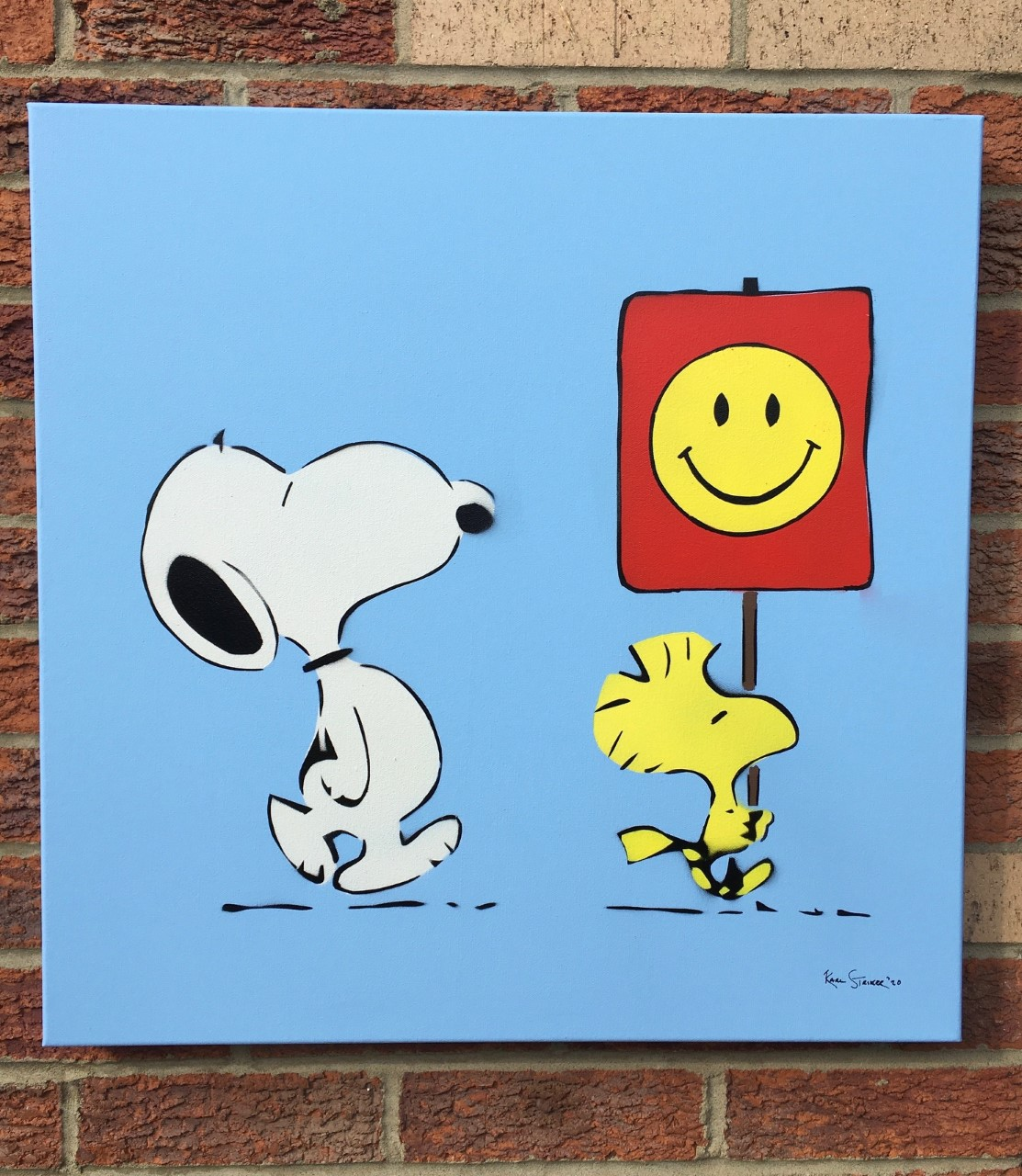 Snoopy Smiley Face-Bl... by  Karl Striker - Masterpiece Online