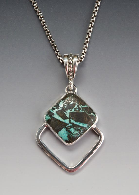 """Silver Turquoise Pendant in Sterling Silver, Austin Blue Mine Turquoise 20"""" Sterling Silver chain"""