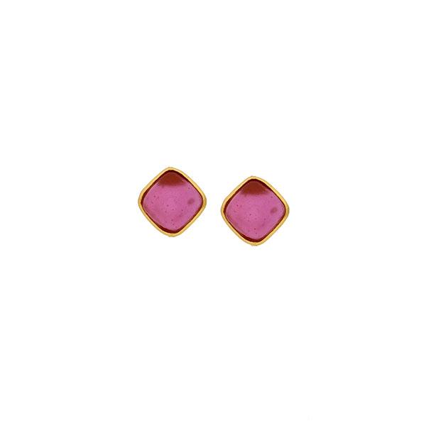 Bubble Diamonds Post Earrings in Pale Ruby