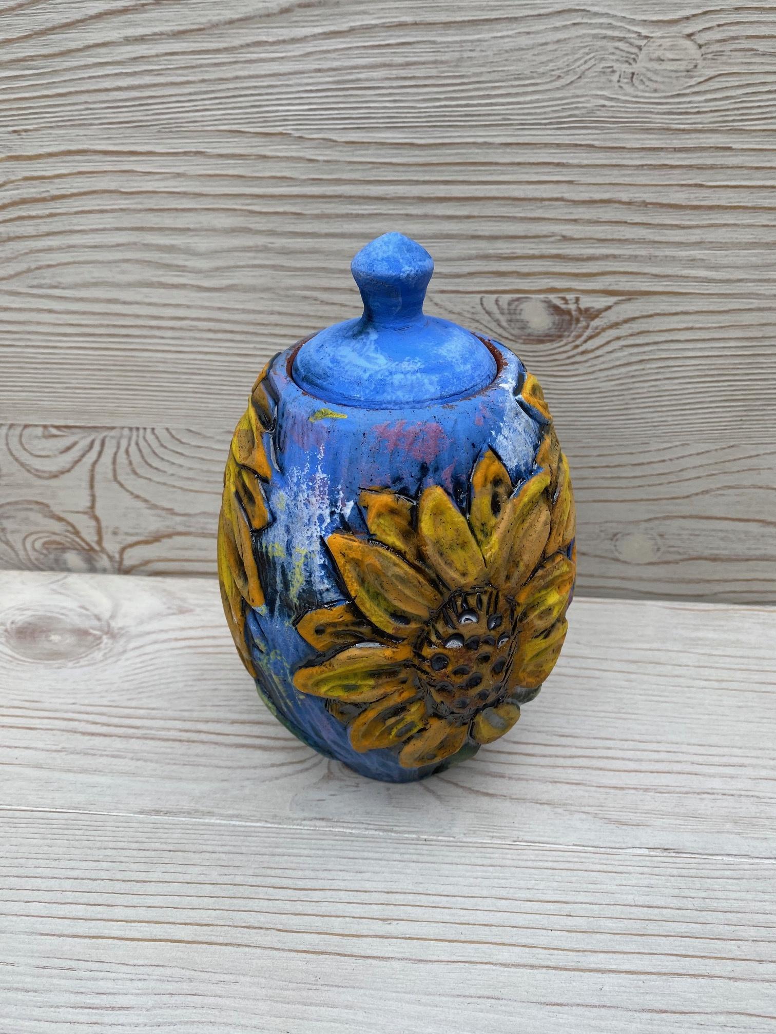 Sunflower Covered Jar