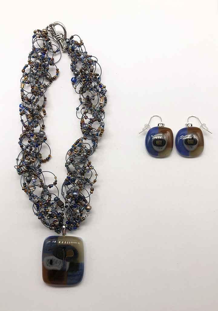 Woods N Water Fused Glass Earrings