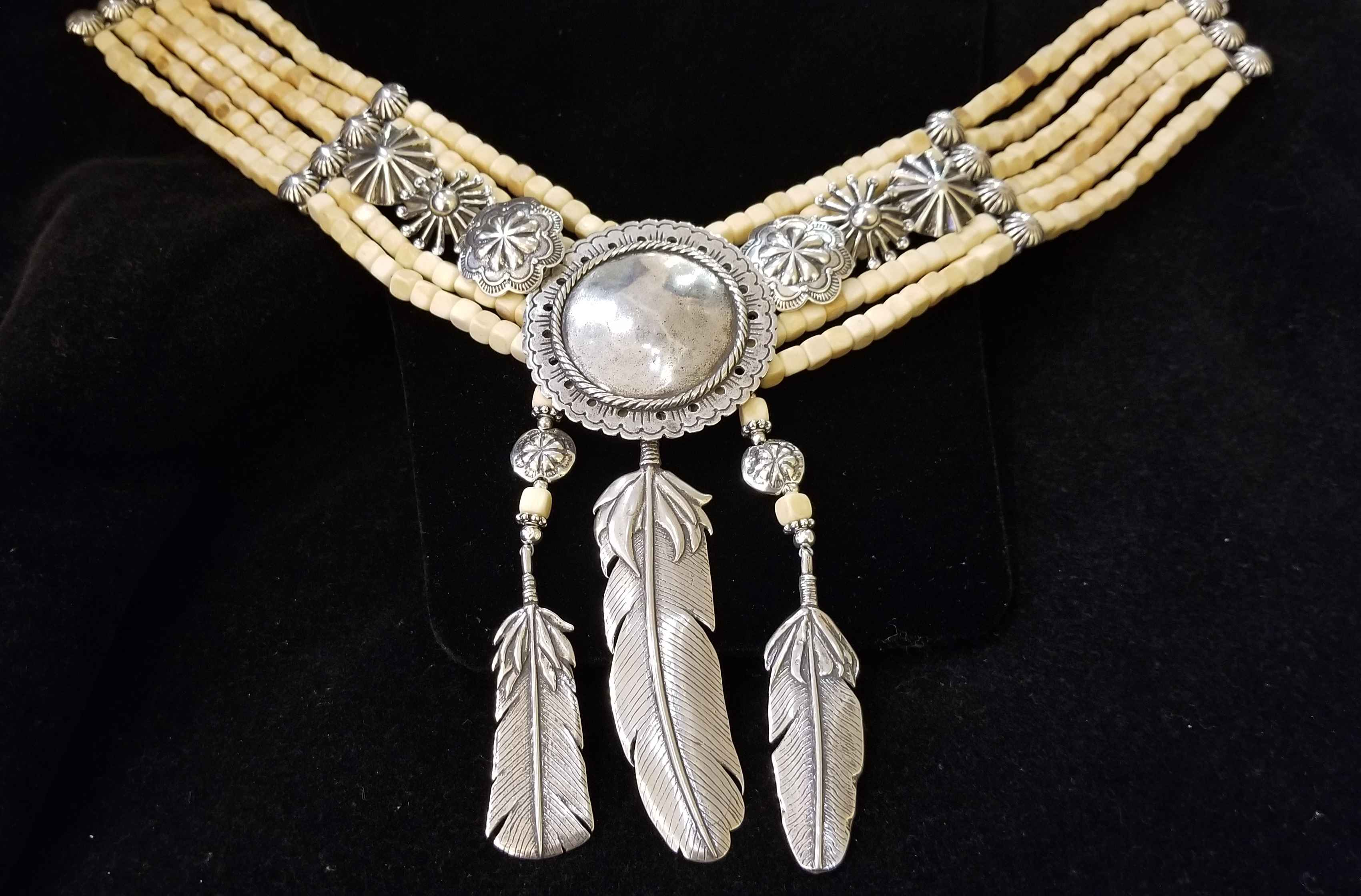 Silver & Bone Bead Ne... by  Mummy's Bundle - Masterpiece Online