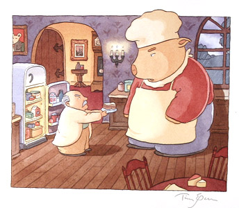 Pig With Man By Fridge