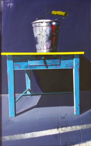 Bucket on Blue Table by  Zoran Krulj - Masterpiece Online