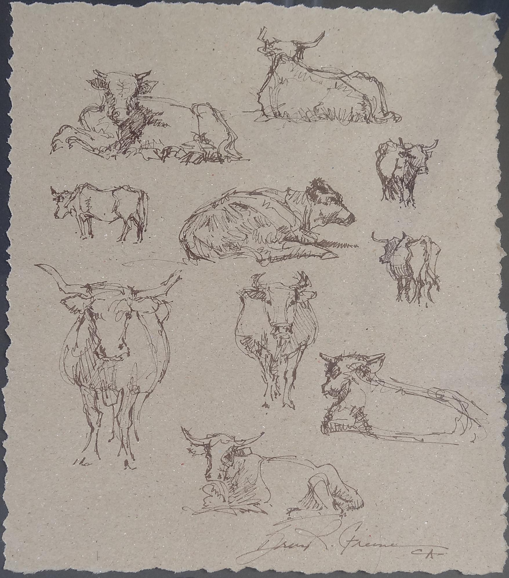 Ten Cow Drawing #2 by Mr. & Mrs. Bruce Greene - Masterpiece Online