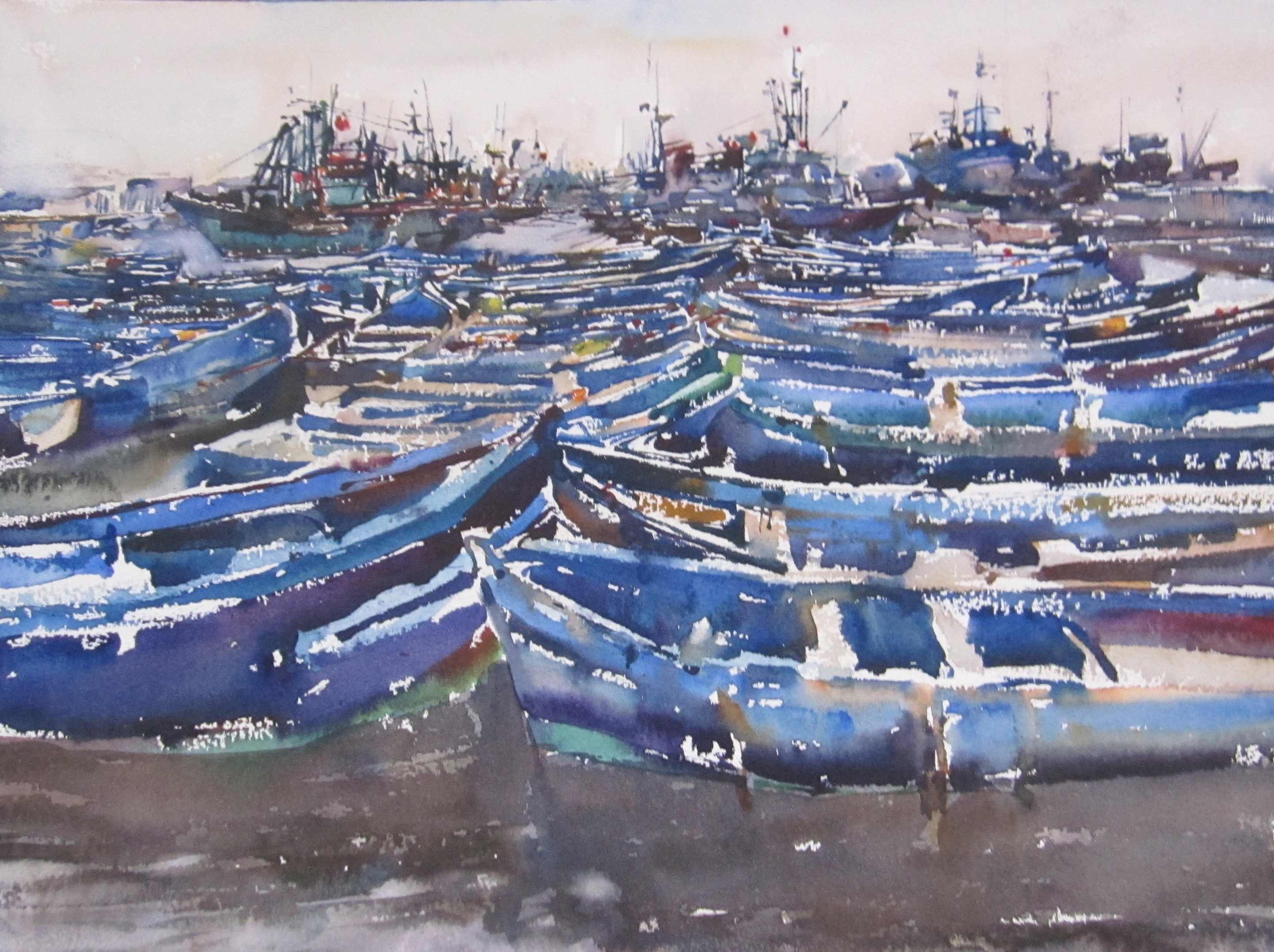 Blue Boats, I by  Daud Akhriev - Masterpiece Online