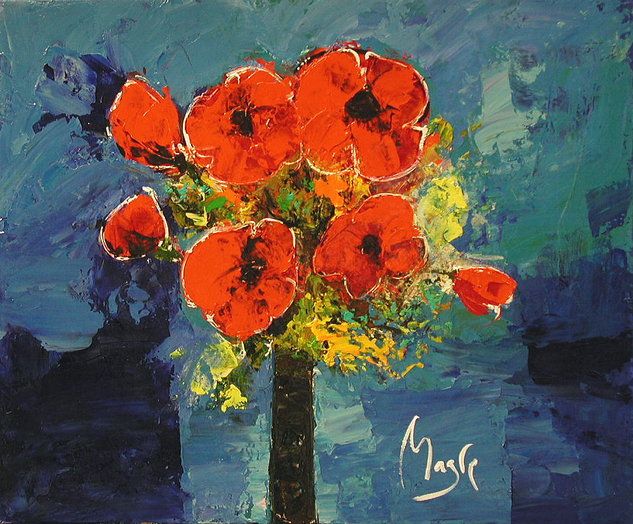 Poppies in a Blue Room by  Louis  Magre - Masterpiece Online