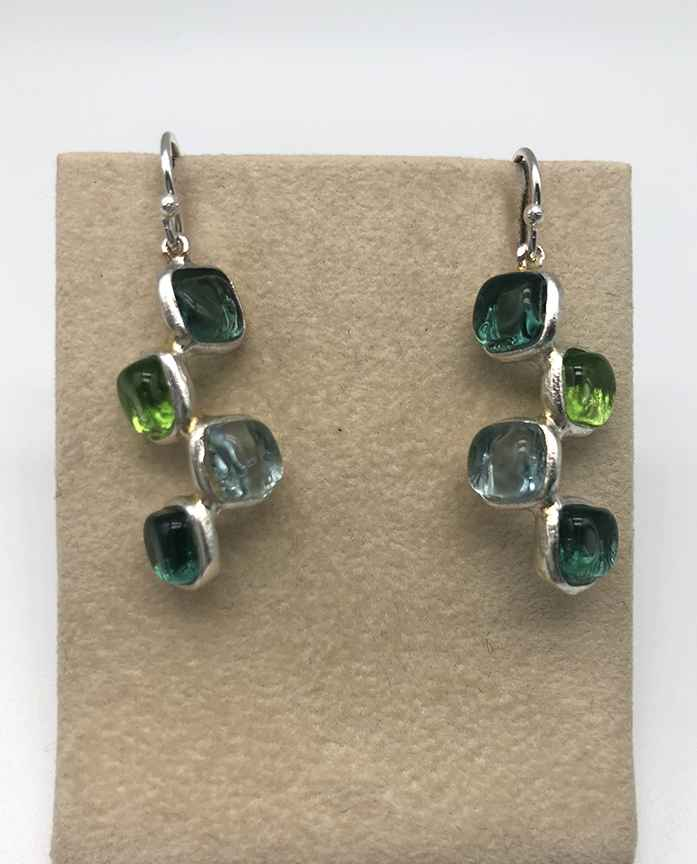 Silver Squares Offset Earrings 1 1/2