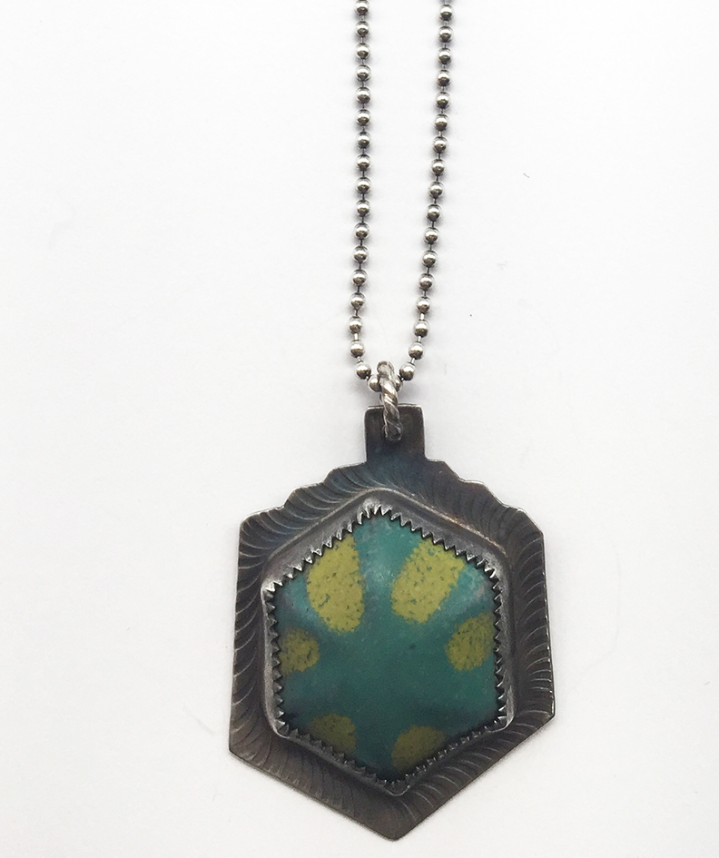 Hexagon Blue/Yellow Enamel Stainless Necklace