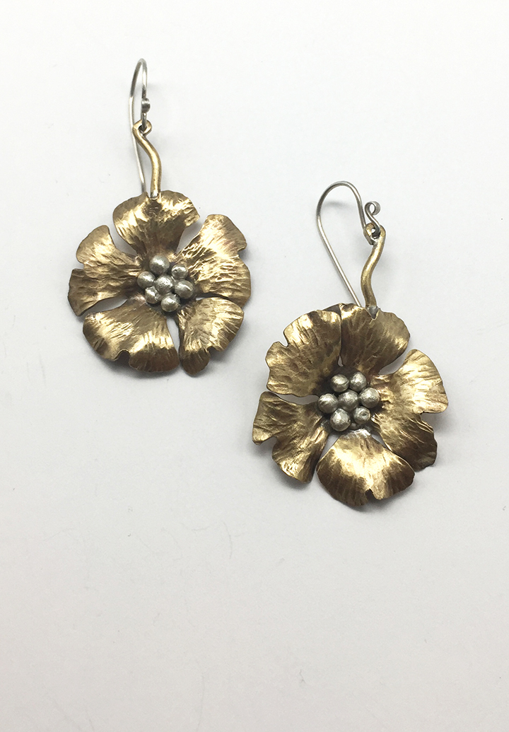 Brass Anemone Earring, Small