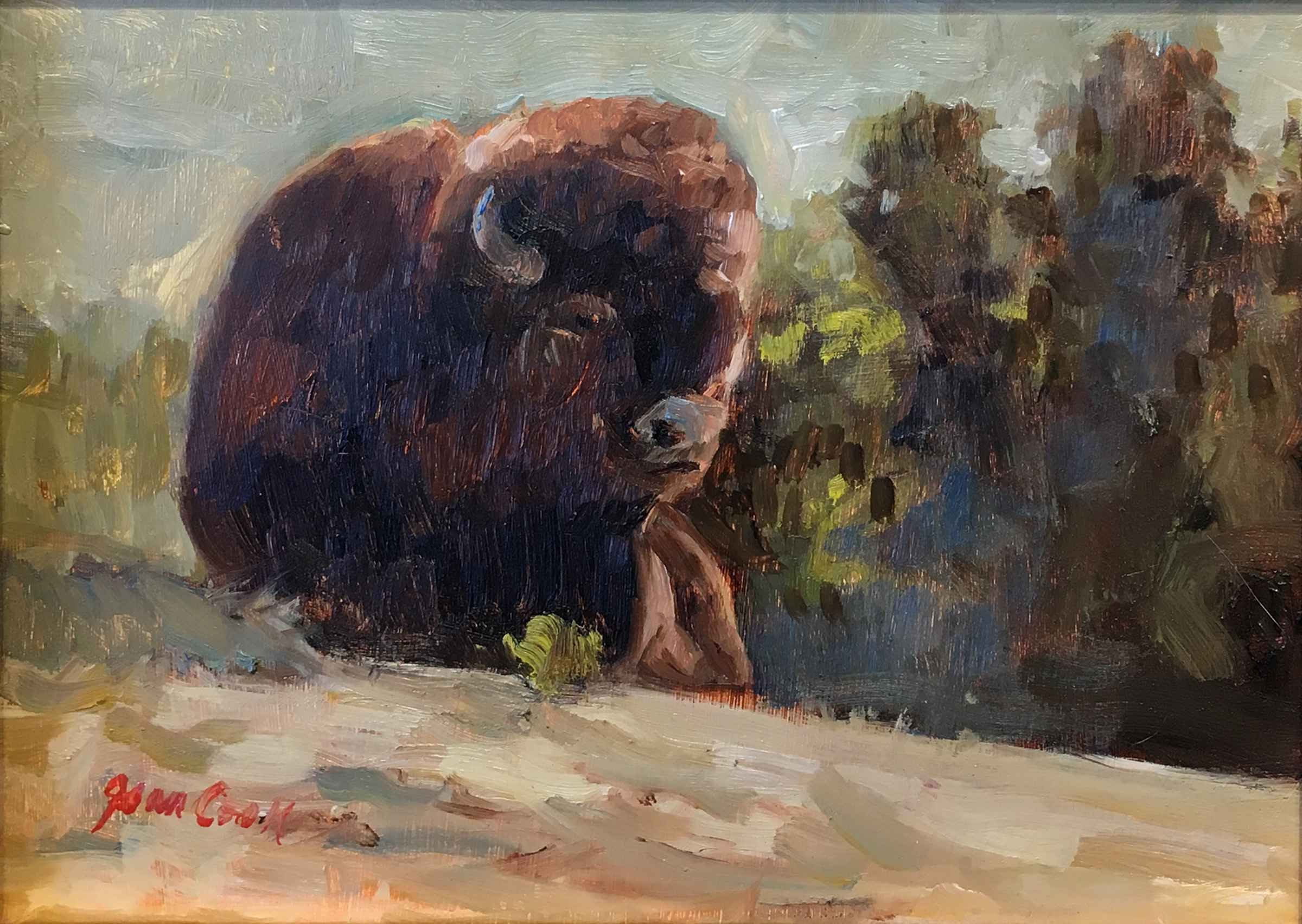 Reclining Bison - Yel... by  Jean Cook - Masterpiece Online