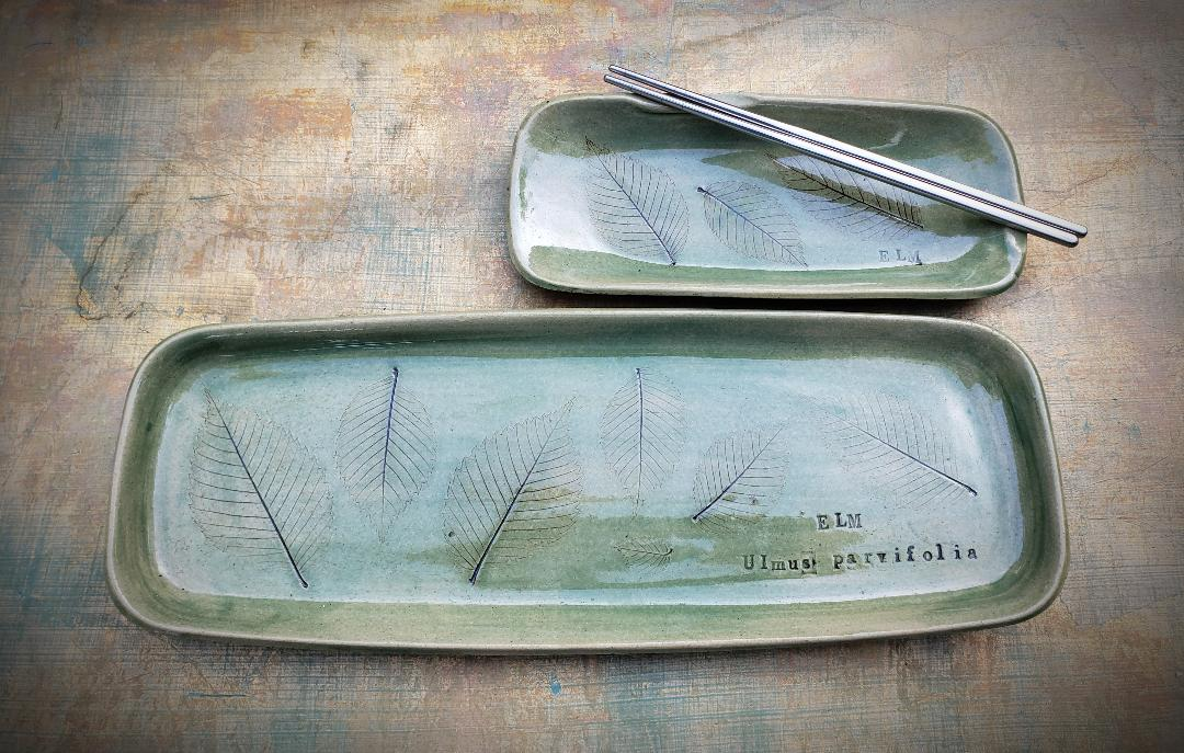 Sushi Set, Elm Leaf in Green Glaze