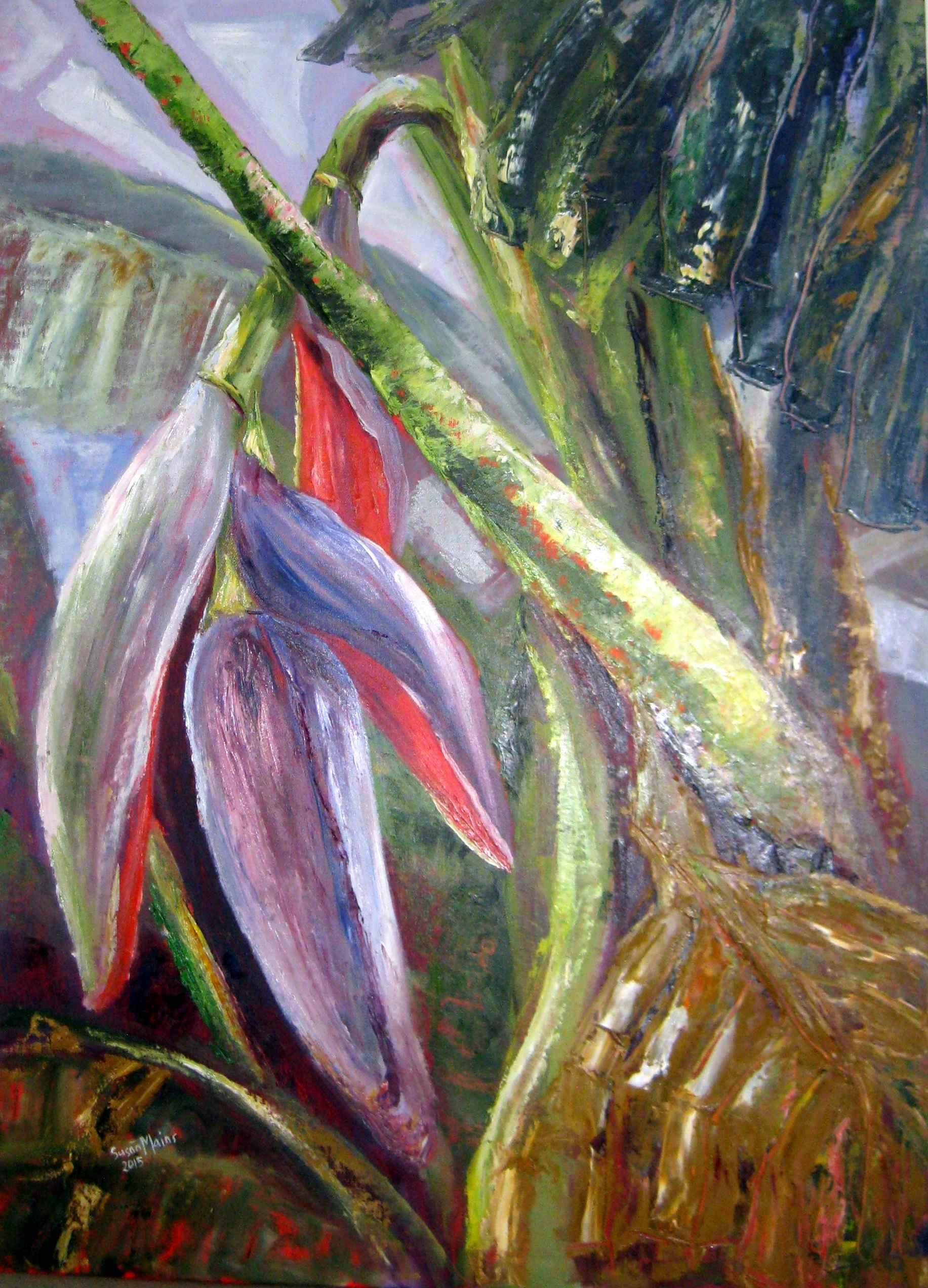 Banana Flower in Viol... by Mrs. Susan Mains - Masterpiece Online
