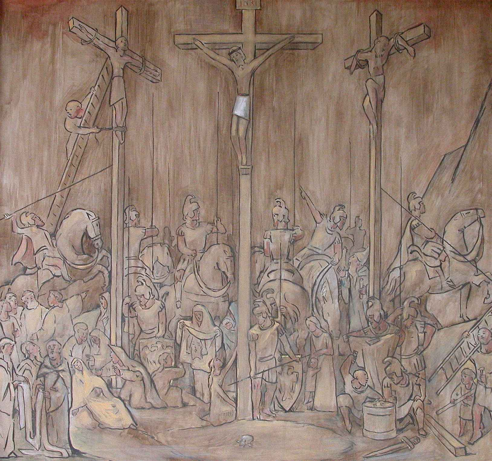 Calvary with Three Cr... by  Jean Charlot (1898-1979) - Masterpiece Online