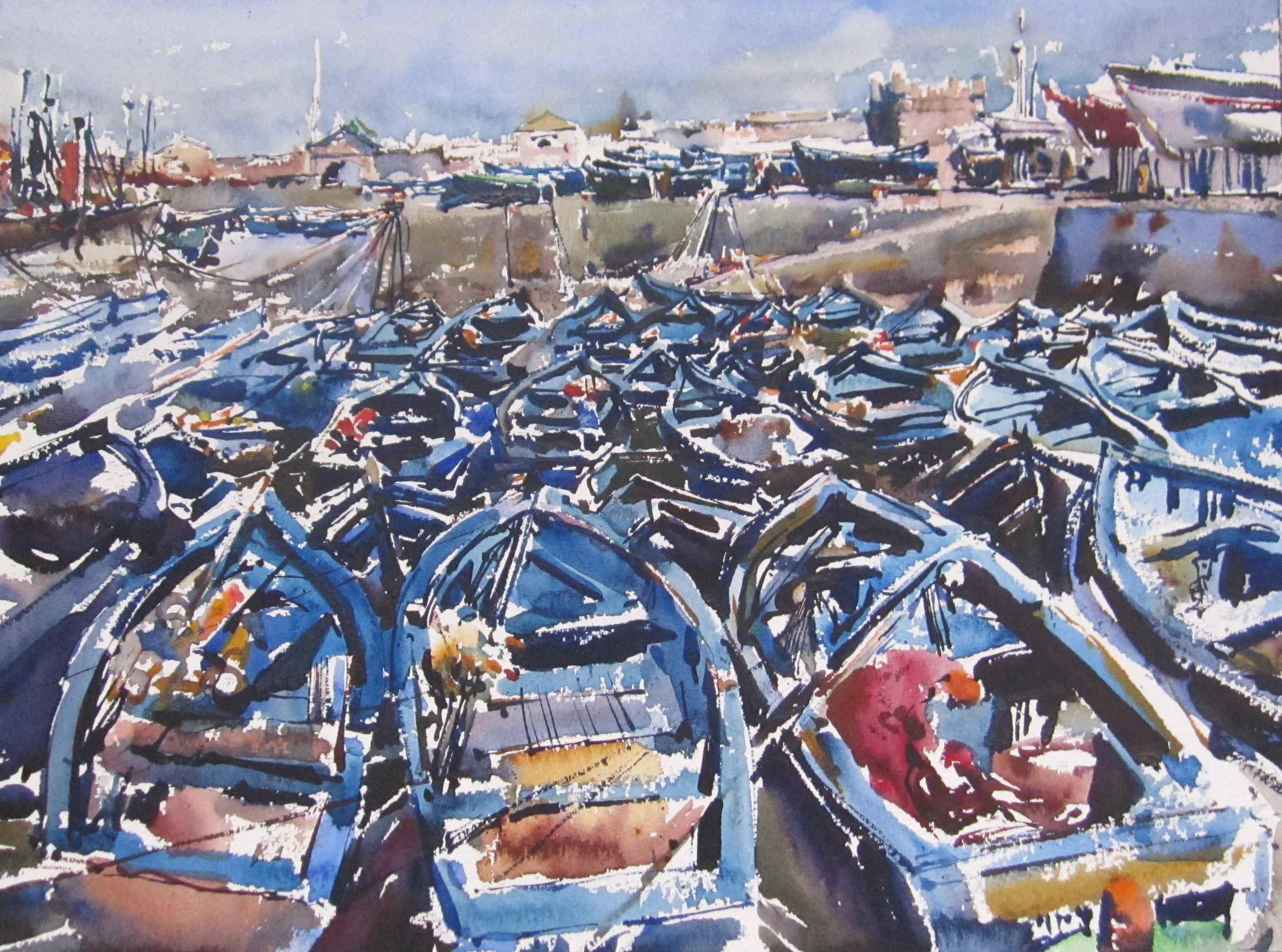 Blue Boats, II by  Daud Akhriev - Masterpiece Online