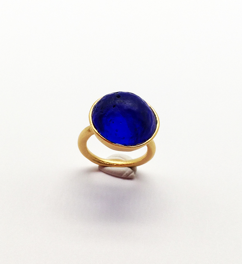 Sol-Single Stone Ring in Cobalt Size 5.5