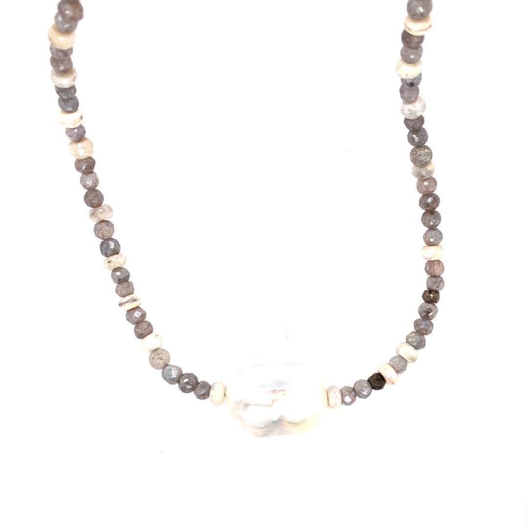 Labradorite, Silverite Sapphire, and Baroque Pearls Necklace 14