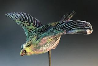 Winged Bird, Blue and Green