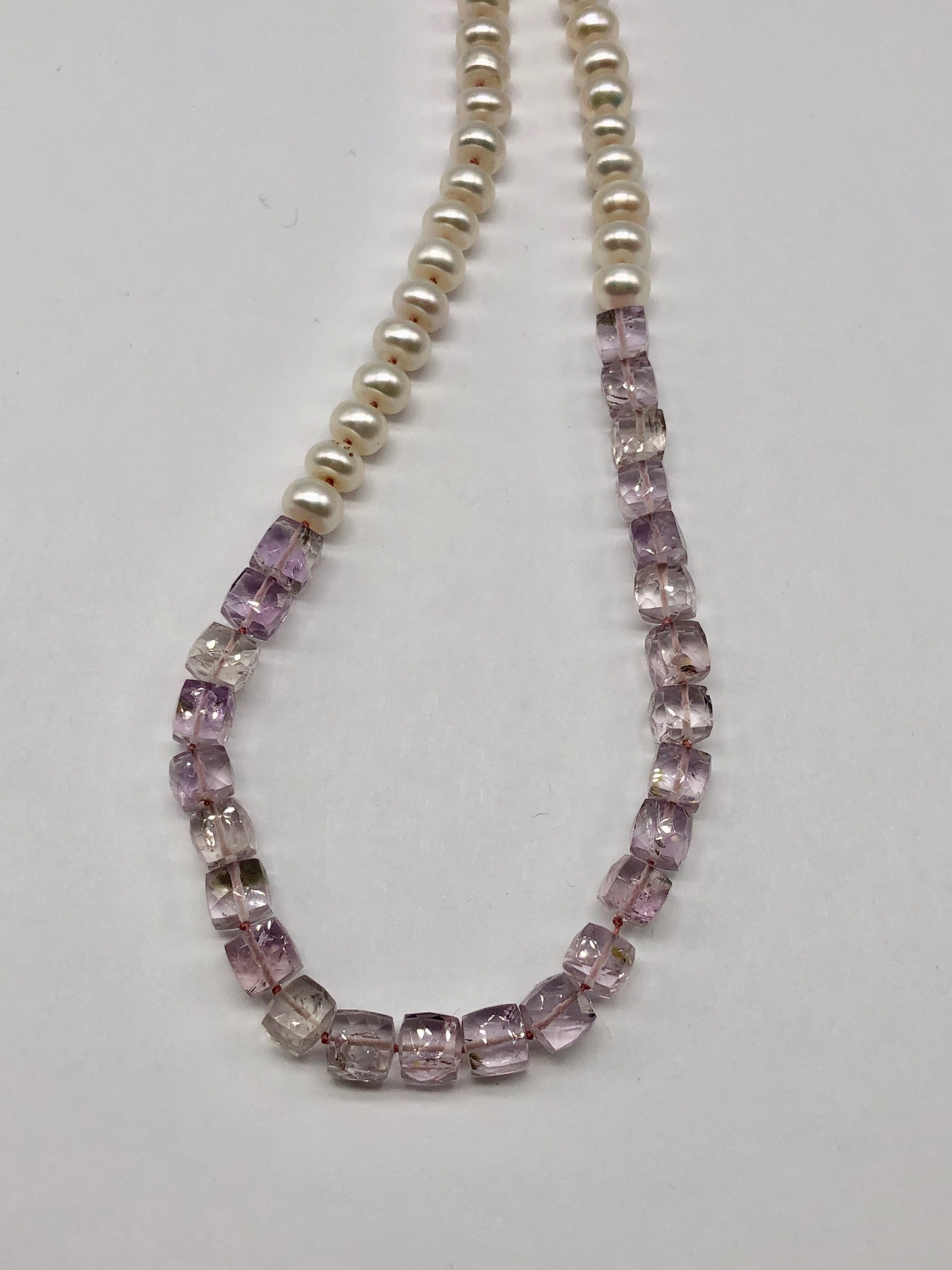 Fresh Water Pearl and Pink Amethyst Necklace
